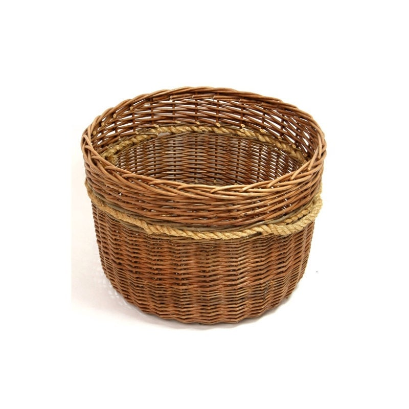Wicker Log Basket With Handles : Golden strong large wicker log basket with thick rope handles