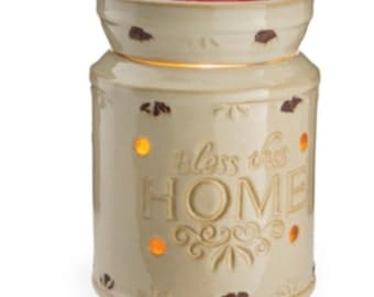 Bless This Home Ceramic Tart Warmer & Three Clamshell Wax Melts