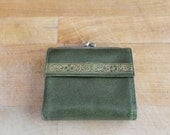 Vintage Princess Gardner Cowhide Leather Green Wallet with Gold Flowers and Leaves