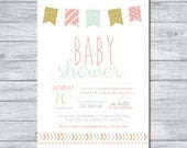 Banner Baby Shower Invitation, DIY Invitation, Digital Invitation, Custom Invitation, Girl Baby Shower Invite, Boy Baby Shower Invite