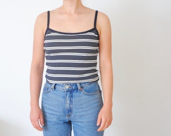 90s Striped Spaghetti Strap Cropped Tank