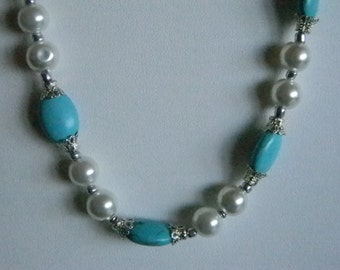 Silver Tone Faux Turquoise Beads Pearls Silver Accents Necklace