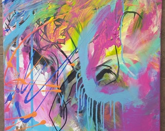 Abstract Painting, Contemporary art, modern, street art, christian art, mixed media canvas, painting, raw art