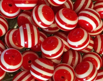 20mm - Red Stripe Gumball Beads, Chunky Gumball Beads, 20mm Gumball Beads, Striped Beads