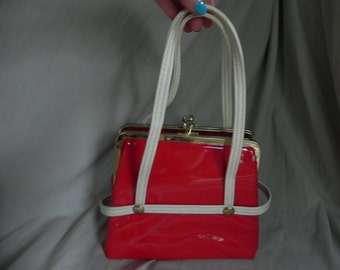 1960's or 1970's Vintage Red and White Patent Leather 2 Compartment Handbag Purse