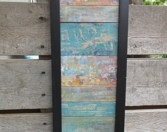 Rustic Wood Wall Art, Reclaimed Wood Wall Art, Acrylic Painting, Wood Art