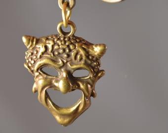 Vintage metal brass tone,key ring,keychain,dionisus,pan mask