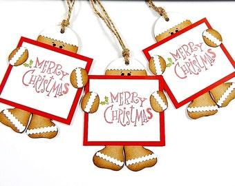 Christmas Tags, Gingerbread Man Tags, Christmas Gift Tags, Gingerbread Tags, Holiday Tags, Merry Christmas, Christmas Treat Tags