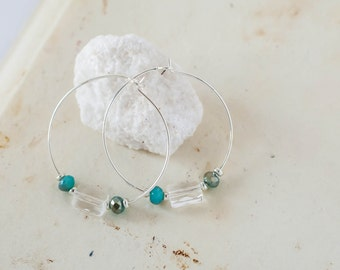 Small SilverTone Hoop Earrings with Turquoise Czech and Clear Glass Crystal Beads Boho Bohemian Jewelry Minimalist