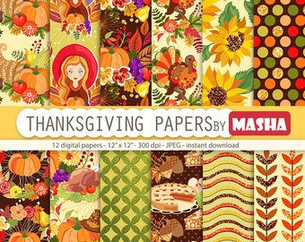 """Thanksgiving papers: """"THANKSGIVING DIGITAL PAPERS"""" with Thanksgiving patterns, turkey pattern, pumpkin pattern, 12 images 300 dpi. jpg files"""
