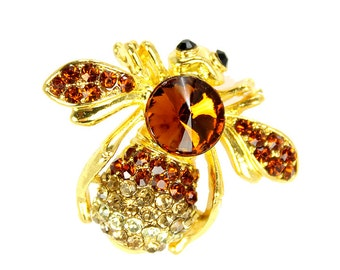 Bee Brooch, Bee Jewelry, Insect Broach, Amber Brown, Bee, DIY Project Craft Jewelry Embellishment