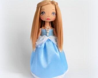 Cinderella Princess Handmade Art Dolls Ooak Dolls Birthday Gift For Her Daughter Rag Dolls Cloth Dolls Fabric Dolls  Home Decor Stuffed Toys