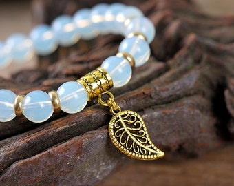 Moon stone bracelet, leaf bracelet, gemstone bracelet, stone bracelet, beaded bracelet, gold bracelet, energy bracelet, golden leaf bracelet