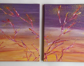 table diptych abstract modern art series the flowering trees a acrylic
