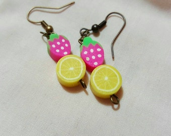 Strawberry and Lemon Earrings