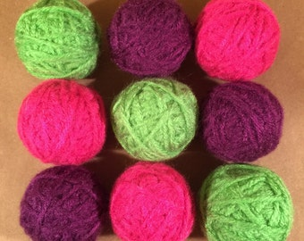 Decorative yarn balls, bowl filler, vase filler, deco balls, pink bowl filler, purple bowl filler, green bowl filler