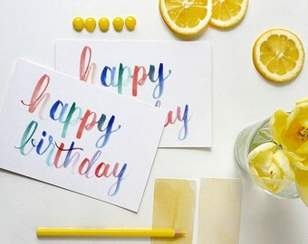 happy birthday card | birthday card | watercolor card | whimsical watercolor birthday | ombre watercolor card