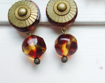 Vintage Couture Tortoise Shell Earring