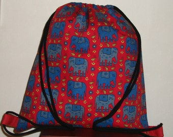 Indian Elephant waterproof drawstring backpack, swim bag, gym bag, PE bag, Lunch bag, Shoe bag, Book bag,wet bag,toy bag,overnight bag