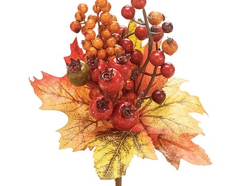 "Fall pick/spray with Fall Leaves and clutters of Fall Berries 5""H X 5""W X 3""D. 10""H overall."