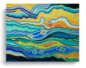 "Painting Acrylic Abstract Original Modern Fine Art Canvas,""Sun, Earth and Sea"" KenWebb Studios"