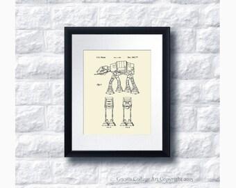 AT-AT Imperial Walker Star Wars Patent Art Print Star Wars Sci-Fi Movie, Star Wars Home Decor Star Wars Print #10