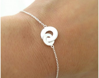 Bracelet two circles intertwined solid Silver 925 - sterling silver interlaced discs 925 - two interlocking circles 925 silver Bracelet