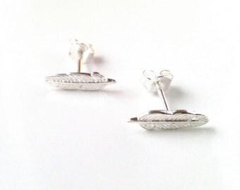 Feather earrings chips Silver 925 - earrings - silver 925