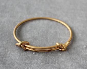 Adjustable knotted bracelet, 2.5mm brass wire, 14K matte genuine gold plating