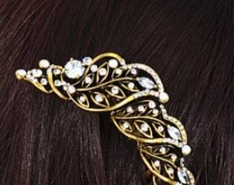 New Art Deco  Gold  Vine Leaf With Austrian Crystal &  Rhinestone 3 1/2'' Hair Comb