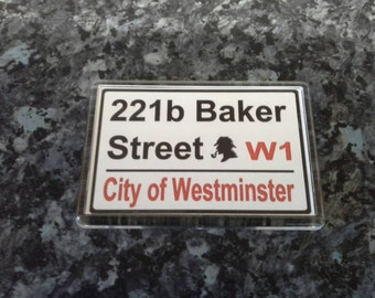 221 B Baker Street Sign Fridge Magnet. Sherlock Holmes, London. City of Westminster
