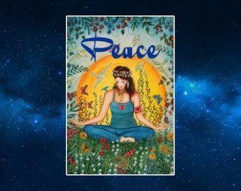 Peace (Tranquility Girl) Fridge Magnet. Retro Style Art. Meditation