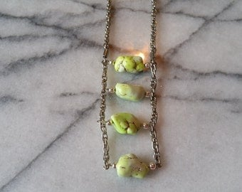 Pretty Silver Necklace with Ladder Style Lime Green Turquoise Stone Pendant Handmade