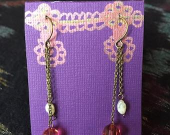 Pearl and pink crystal earrings