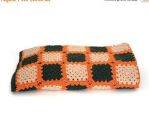 "ON SALE Vintage afghan blanket throw. Green, beige and orange. Sofa throws. Boho hippie. Size 77"" x 34 1/2""."