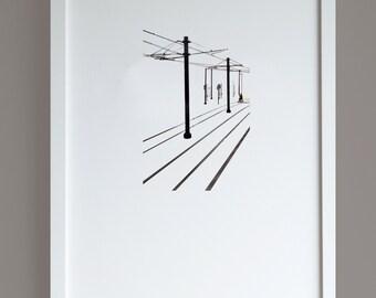 Tram Tracks A3 print, minimalist photographic print, urban street scene, fine art photography print, street photography