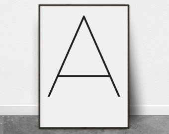 Alphabet Letters, Wall Art Letters, Wall Art Prints, Wall Art Large, Minimalist, Digital Download, Pink, Black and White Print, Scandinavian