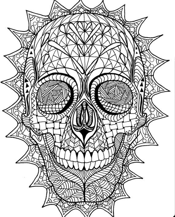 Coloring Page Zentangle Sugar Skull Digital Coloring Pdf