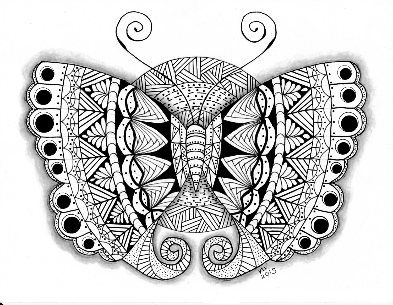 Coloring Page Zentangle Butterfly Digital Coloring pdf