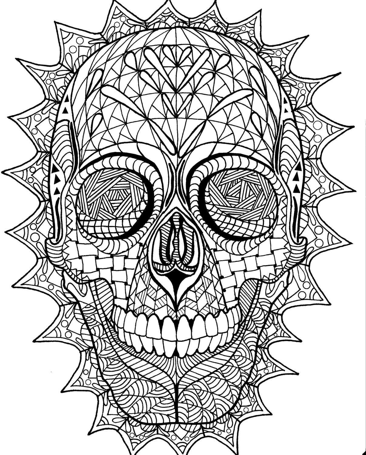 Coloring page zentangle sugar skull digital coloring pdf Electronic coloring book for adults