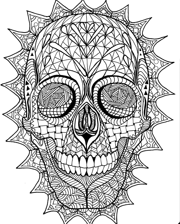 Coloring Page Zentangle Sugar Skull Digital Coloring pdf