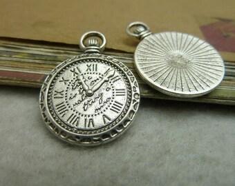 20 Clock Gear Charms Antique Silver Tone Clock Pendant - DYS7199