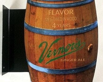 Vernor's Ginger Ale Barrel Metal Flange Sign - Double sided