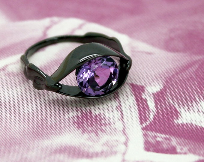 Salvador Dali Eye Ring, Silver Ring, 3D printed in Sterling Silver with Amethyst, Gifts for Her