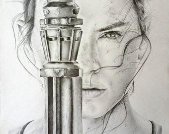Rey Pencil Portrait Drawing Print