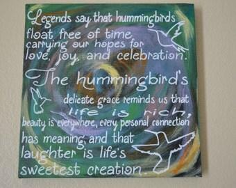 Hummingbird Quote Canvas