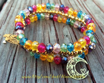 Multi Color Crystal triple Beaded Bracelet with Gold Plated Charms