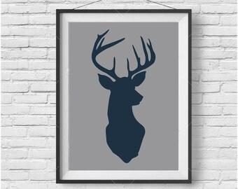Navy & Gray Deer Printable Art Reindeer Wall Art Christmas Decor Christmas Printable Animal Poster Navy Nursery Art Nursery Print Deer Decor