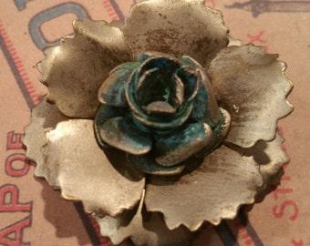 German silver gilded verdigris shabby chic style rose pendant 1 pc