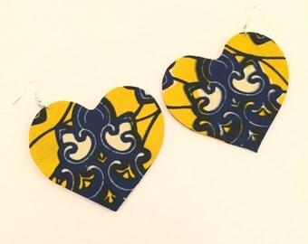 African Earrings, Heart Earrings, Big Earrings, Unique Earrings, Handmade Earrings, African Jewelry